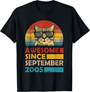 Awesome Since September 2005 14th Birthday Gift Cat T-Shirt