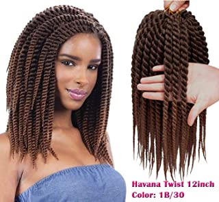Karida 6pcs 12inch Havana Twist Crochet Hair Havana Mambo Twist Crochet Braids Jumbo Senegalese Twist Synthetic Crochet Braiding Hair Extensions 12 Roots/Pack (T1B/30)