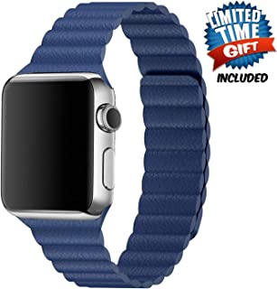 Inno-Huntz Leather Band Compatible with Apple Watch Band 42mm 44mm Replacement 2 Straps for Watch Series 4 3 2 1 Strong Magnetic Closure Wristband for Men Women Dark Blue
