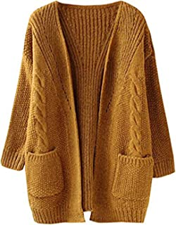 Women's Cable Twist School Wear Boyfriend Pocket Open Front Cardigan Popcorn Sweaters