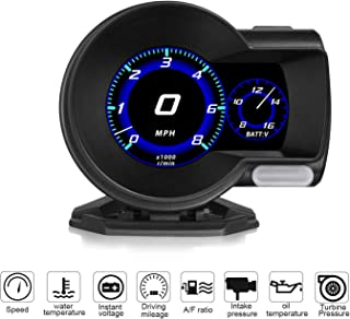 Widerlife Universal Car HUD Head Up Display OBDII EUOBD Multi-Function HD TFT LCD Instrument Refitting Code Table Display with Test Brake Test Overspeed Alarm
