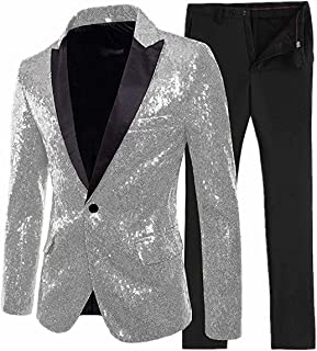 Anshirlisa Mens Sparkly Sequined Notched Lapel Tuxedo Suits Two-Piece Wedding Groomsmen Suits Set