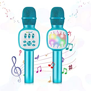 $39 » Kids Microphone,ZealSound Wireless Bluetooth Karaoke Microphones with Flashing LED Lights, Magic Sing Voice Changer Portab...