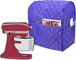 Luxja Dust Cover Compatible with 6-8 Quart Stand Mixer, Cloth Cover with Pockets for Stand Mixer and Extra Accessories, Purple (Quilted Fabric)