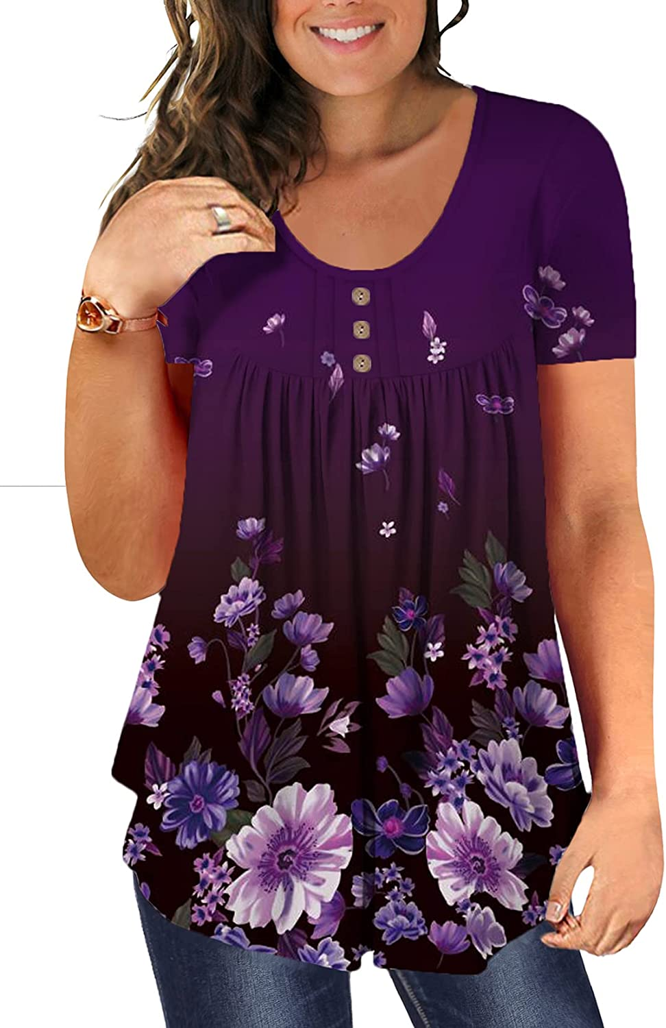 Beadchica Women's Plus Size Tunic Tops Casual Flowy Tshirts Ruched Botton Up Short Sleeve Blouses
