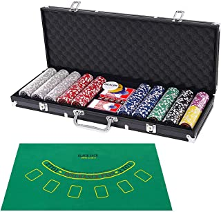Costzon 500 Piece Poker Chip Set, 11.5 Gram with Aluminum Case, 5 Dice Chips, 2 Decks of Playing Cards, Dealer Buttons