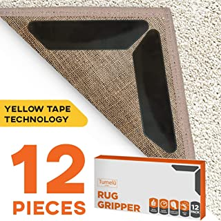 TUMELU 12pc Premium Large Size Anti Curling Carpet Tape Rug Gripper – Will Keep Rug in Place & Keep Corners Flat, Advanced with Yellow Capet Tape, Double Sided, Hard Plastic Center, 2X Adhesive