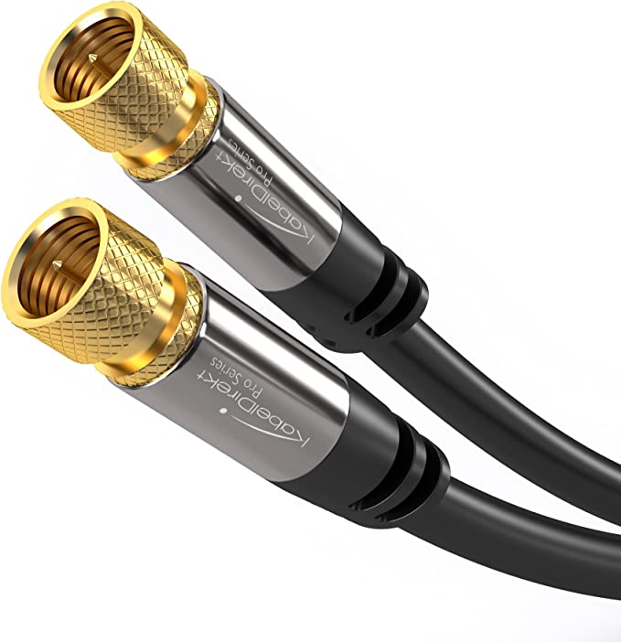 KabelDirekt – Digital Coaxial Audio Video Cable – 25 feet (Satellite Cable Connectors, Male F Connector Pin, Coax Cables for Satellite Television – Pro Series)