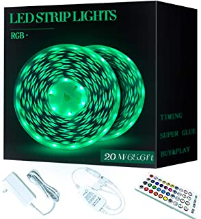 LED Strip Lights, 65.6FT/20M Ultra-Long RGB LED Strip, 600LEDs Light Strip with Remote, Flexible Music Color Changing Tape Lights with UL Listed Adapter for for Bar, Party and Home Decorati