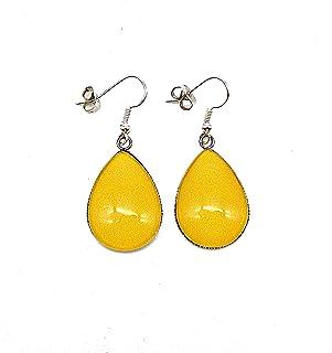 Boucles d'oreilles pendantes forme gouttes * jaune moutarde * couleur unie cabochon en verre boucles longues bijoux jaunes...