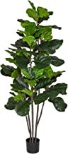 Woooow 6 Feet Artificial Fiddle Leaf Fig Tree in Planter,Artificial Tree Beautiful Fake Plant Fiddle Leaf Indoor/Outdoor U...