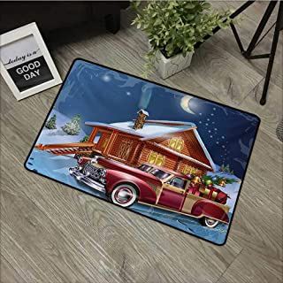 Moses Whitehead Non-Slip Doormats Christmas,Wooden Lodge with Classic American Truck and Tree Gifts Starry Sky Winter Snow,Multicolor,for Indoor/Outdoor/Front Door/Shower Bathroom 30