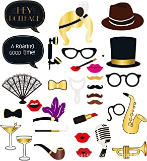 BinaryABC Hollywood Photo Booth Props,Movie Night Photo Booth Props,Hollywood Party Supplies,33Pcs