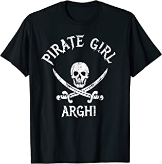 Pirate Girl Costume T-Shirt Argh Skull Captain Girl Outfit