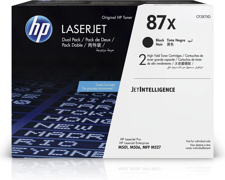 HP 87X | CF287XD | 2 Toner-Cartridges | Black | Works with HP LaserJet Enterprise M527, M506, M501 | High Yield