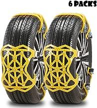 Qomolo Cadenas de Nieve, Universal Cadenas Coche Nieve 6 Piezas Invierno Antideslizante de Neumático de Nieve Chains para Los SUV Camión,Automóvil,Ancho del Neumático 165-275mm(M1)