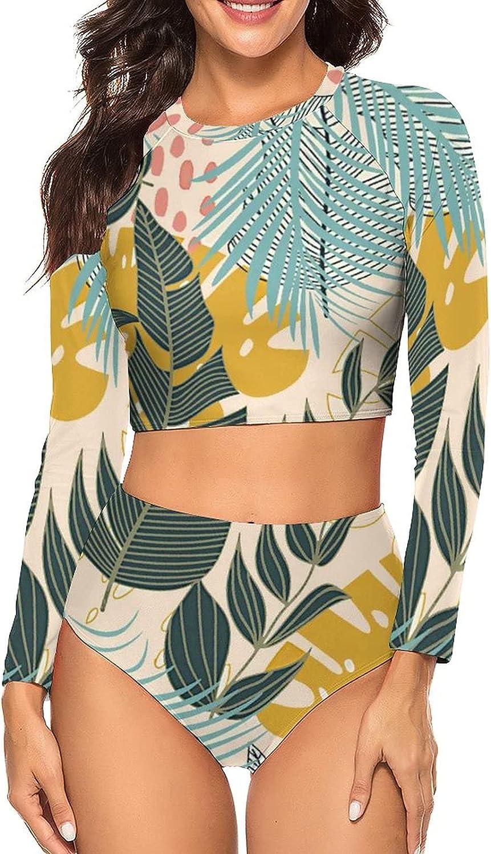 Tvsuh-u Womens Bathing Suits 2 PCS Summer Tropical Plants Long Sleeve Rash Guard Swimsuits Sun Protection Athletic Shirt