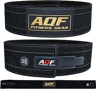 AQF Cinturon Lumbar Gimnasio para Levantamiento De Cinturon Gym Hebilla de Palanca Pesas De Cuero Acolchado De 4