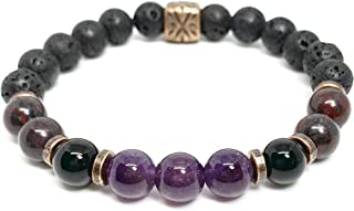 Lava stones Anti Anxiety Essential Oil Diffuser,Aromatherapy Sleep aid Clarity Sleep Garnet,Bloodstone,Fluorite,Lapis,Amethyst Stress Relief Unisex//Mens Wellness Gemstone Bracelet for Focus