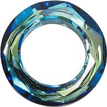 1 pc Swarovski Crystal 4139 Round Cosmic Ring Frame Charm Pendant Bermuda Blue14mm / Findings/Crystallized Element