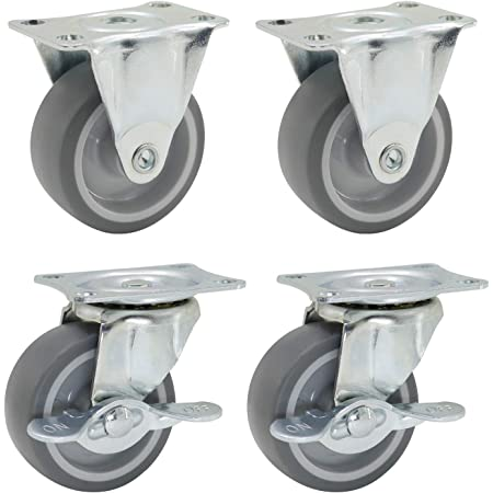 Nº 2 Wheel Wheels For Furniture Grey Rubber Casters Fixed Plate 50 mm 40 kg