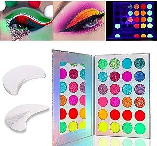 Kalolary 24 kleuren lichtgevend oogschaduwpalet, neonkleuren fluorescerend oogschaduwpalet Glows in the dark, met 20 stuks...