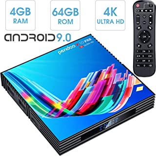pendoo Android TV Box 4GB RAM 64GB ROM, X10 PRO Android 9.0 TV Box RK3318 Quad-Core 64Bits Dual WiFi 2.4G/5GHz Bluetooth 3D 4K Ultra HD H.265 USB 3.0 Android Box