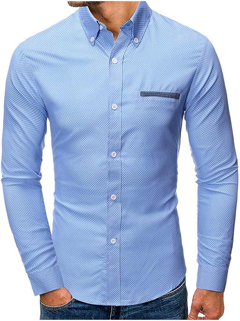 MODOQO Men's Long Sleeve Regular Fit Casual Dot Print Button Down Dress Shirt Top