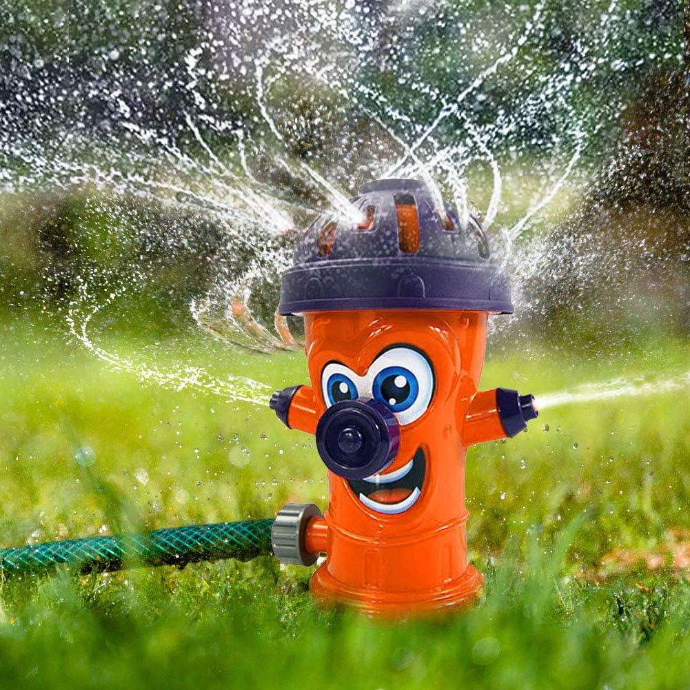 Hydrant Water Sprinkler for Kids Attaches to Standard Garden Hose /& Sprays Up to 8 Ft Orange Water Sprinkler Toys for Children Toddlers Boys Girls Dogs Xergur Kids Fire Hydrant Sprinkler