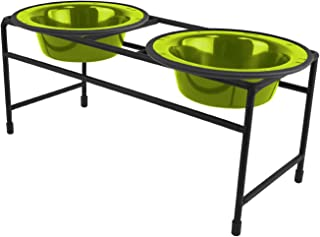 Platinum Pets Double Diner Feeder with Stainless Steel Cat/Puppy Bowls, .75 cup/6 oz, Corona Lime