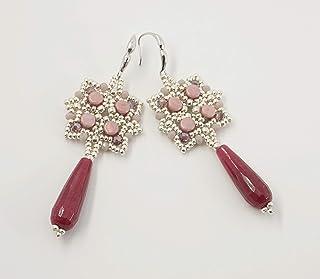 orecchini pendenti lunghi goccia pietra dura giada rossa con perline di vetro rosa e ametista