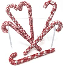 Jubilee Creative Studio Set of 6 Cherry Red & White Plaid Homespun Fabric Covered Candy Canes for Christmas