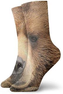 tyui7, Big Brown Bear - Calcetines de compresión antideslizantes, cómodos, calcetines deportivos de 30 cm para hombres, mujeres y niños