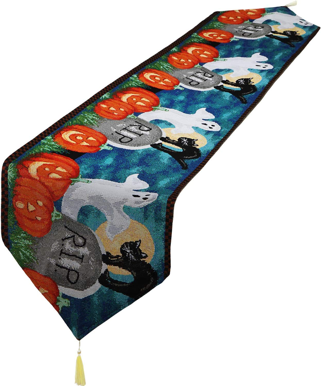 National products [Alternative dealer] Decorative Table Runner Linen Cloth Tassels for Hallo with