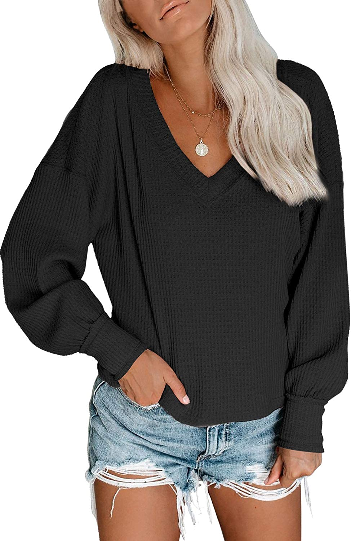 Women's V Neck Waffle Knit Top Off Long Sleeves Shoulde New item Mail order Billowed