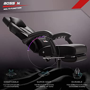 BOSSINGaming Chair,400LBS Ergonomic Heavy Duty Design, Gamer Chairwith Footrest and Lumbar Support, Large SizeCushion Hig