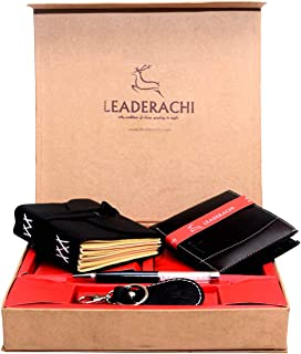 Leaderachi Genuine Full Grain Black Leather RFID Blocking Bi fold Wallet & Leather Journal Diary with Designer Leather Key...