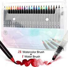 Tobeape 24 Watercolor Brush Pens, Water Color Painting Markers with Flexible Nylon Brush Tips for Adult kids Coloring Book...