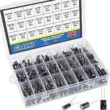 Glarks 545Pcs 24 Value 10V 16V 25V 50V Metal Electrolytic Capacitors Assorted Assortment Kit Set, Lable Capacitor Range 0.1UF - 1000UF