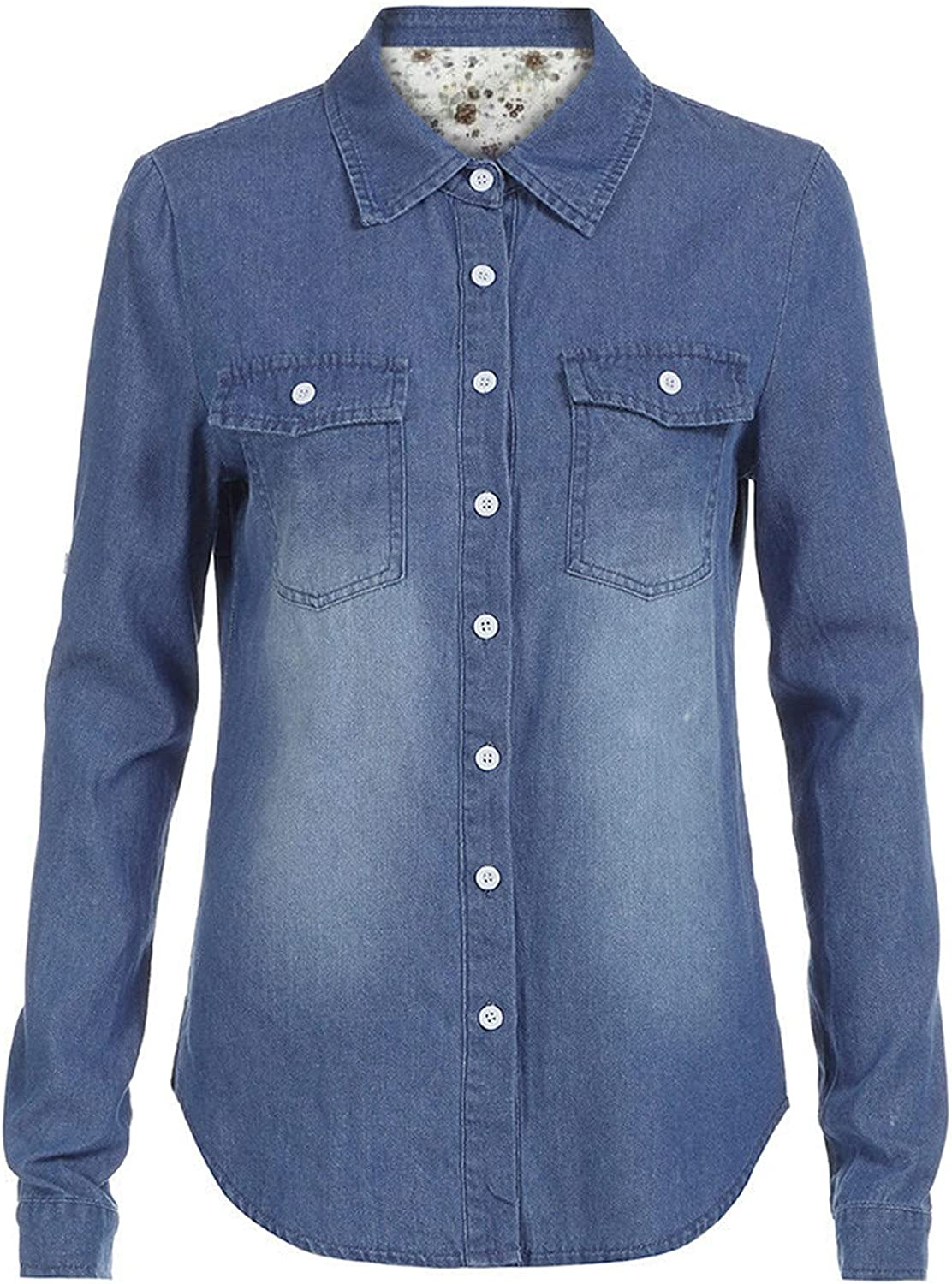 Women Denim Shirt Fashion Style Long Sleeve Casual Tunic Shirts Women Blouse Tops with Button and Pockets