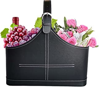 Panier de Rangement en Cuir, Porte - Magazine / boîte de Fruits houblon, poignée supérieure pour l'affichage de Cadeaux de...