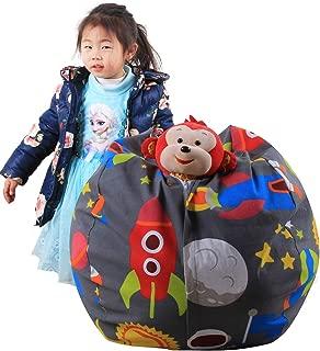 Demana Children s Stuffed Animal Storage Bean Bag Dark Grey Anti-Proof Durable Cotton Bean Bag Cover for Children Children Toy Organizer
