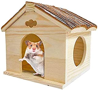 BLSMU Guinea Pig Hideout Huts Gerbil Wood House Playground Natural Chew Toys for Dwarf Hamsters, Syrians Hamster, Chinchilla