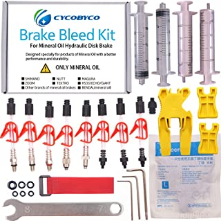 CYCOBYCO Mineral Oil Bicycle Hydraulic Disc Brake Bleed Kit for All Series Shimano/Magura/Tektro/Zoom/CSC/Echo/Giant / HS33 / Nutt Cycling