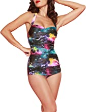 Esther Williams One Piece Halter Swimsuit Rainbow Galaxy Made in USA Size 16