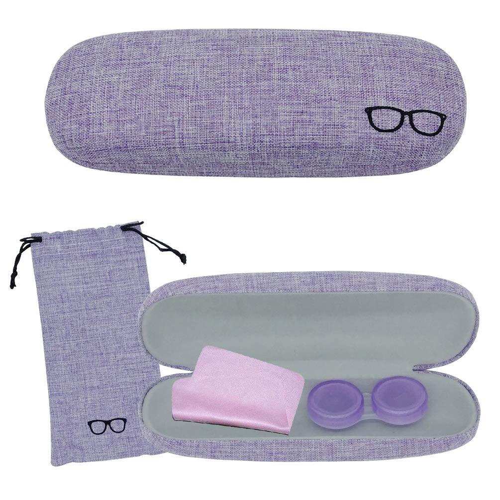 Fundas de Gafas Mujer, Estuche de Lentes Lindo Estuche de Lentejuelas de Lino Púrpura para Damas,