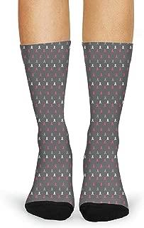 Breast Cancer Awareness Red Socks for Women Novelty Four Seasons Socks Non Slip Boot Socks