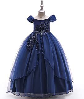 NOMSOCR Kids Lace Costume Long Dress Girl Prom Ball Gown Christmas Party Princess Dresses (4-5 Years, Navy)