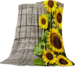Flannel Fleece Bed Blankets Lightweight Cozy Throw Blanket for Couch Sofa Bedroom Adults Kids,Sunflower on Stripe Grey Old Wooden Board 49x59 inch