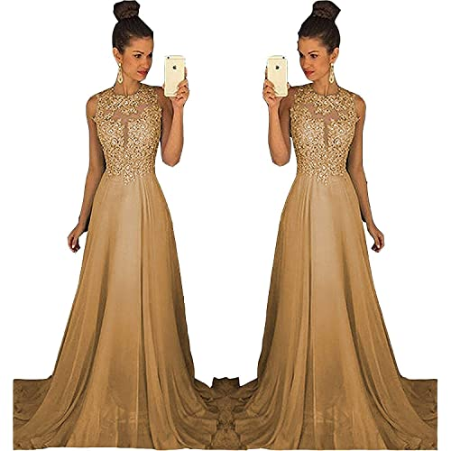 0c58edaa511 MH Gorgeous A-Line Lace Prom Dress Open Back Beaded Bridesmaid Evening Gown